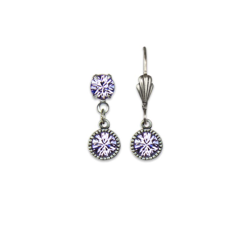 Swarovski® Bezel Set Silver Earrings Violet | Anne Koplik Designs Jewelry | Handmade in America with Crystals from Swarovski®