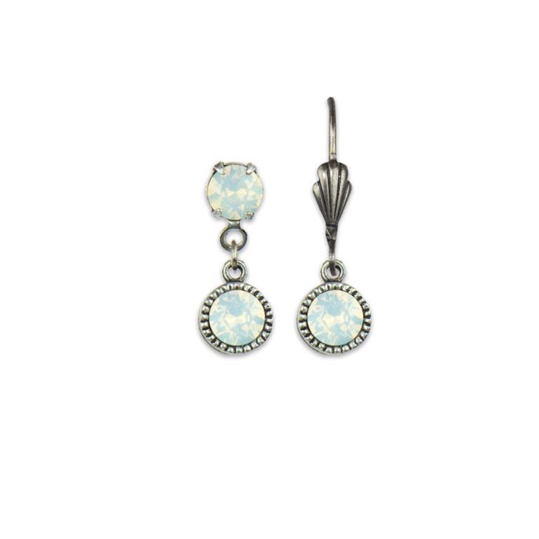 Swarovski® Bezel Set Silver Earrings White Opal | Anne Koplik Designs Jewelry | Handmade in America with Crystals from Swarovski®