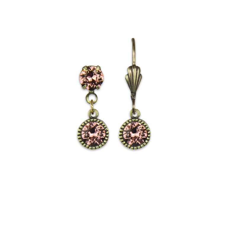Swarovski® Bezel Set Brass Earrings Blush Rose | Anne Koplik Designs Jewelry | Handmade in America with Crystals from Swarovski®