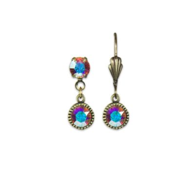Swarovski® Bezel Set Brass Earrings Iridescent Crystal | Anne Koplik Designs Jewelry | Handmade in America with Crystals from Swarovski®