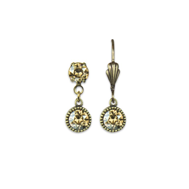 Swarovski® Bezel Set Brass Earrings Crystal Golden Shadow | Anne Koplik Designs Jewelry | Handmade in America with Crystals from Swarovski®