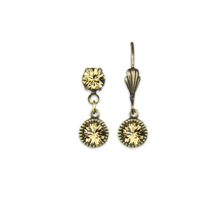 Swarovski® Bezel Set Brass Earrings Light Colorado Topaz | Anne Koplik Designs Jewelry | Handmade in America with Crystals from Swarovski®