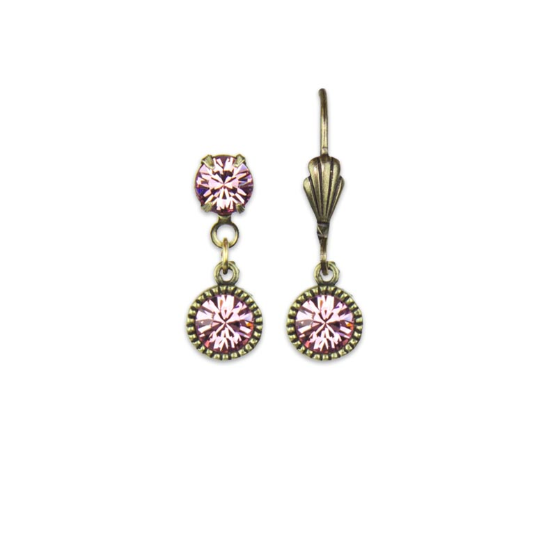 Swarovski® Bezel Set Brass Earrings Light Rose | Anne Koplik Designs Jewelry | Handmade in America with Crystals from Swarovski®
