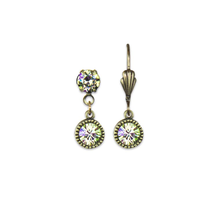Swarovski® Bezel Set Brass Earrings Luminous Green | Anne Koplik Designs Jewelry | Handmade in America with Crystals from Swarovski®