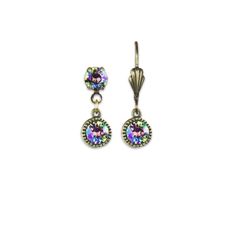 Swarovski® Bezel Set Brass Earrings Paradise Shine | Anne Koplik Designs Jewelry | Handmade in America with Crystals from Swarovski®