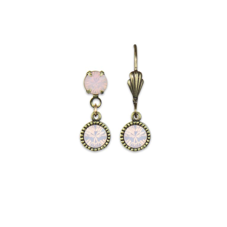 Swarovski® Bezel Set Brass Earrings Rose Water Opal | Anne Koplik Designs Jewelry | Handmade in America with Crystals from Swarovski®