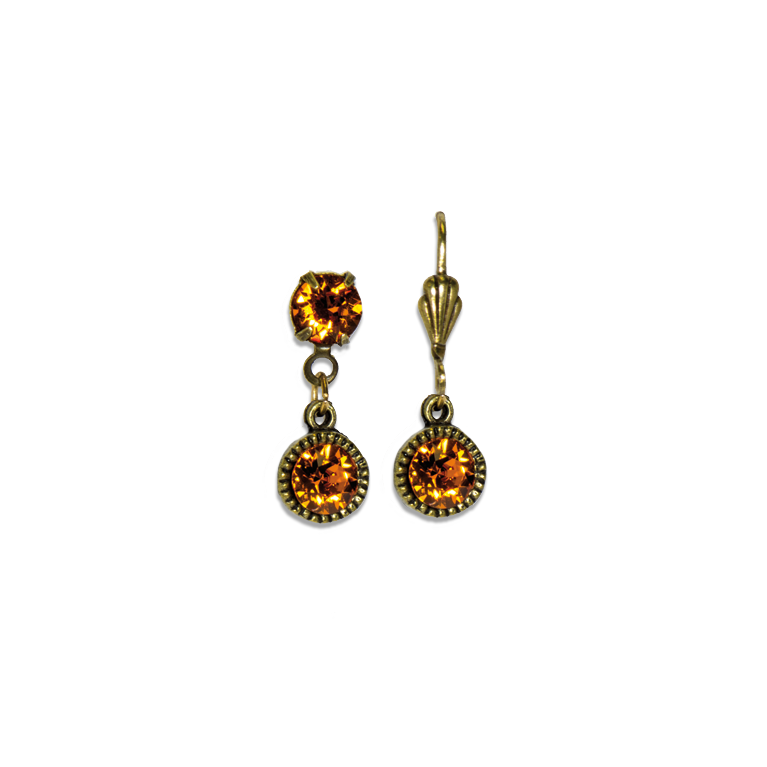 Swarovski® Bezel Set Brass Earrings Tangerine | Anne Koplik Designs Jewelry | Handmade in America with Crystals from Swarovski®