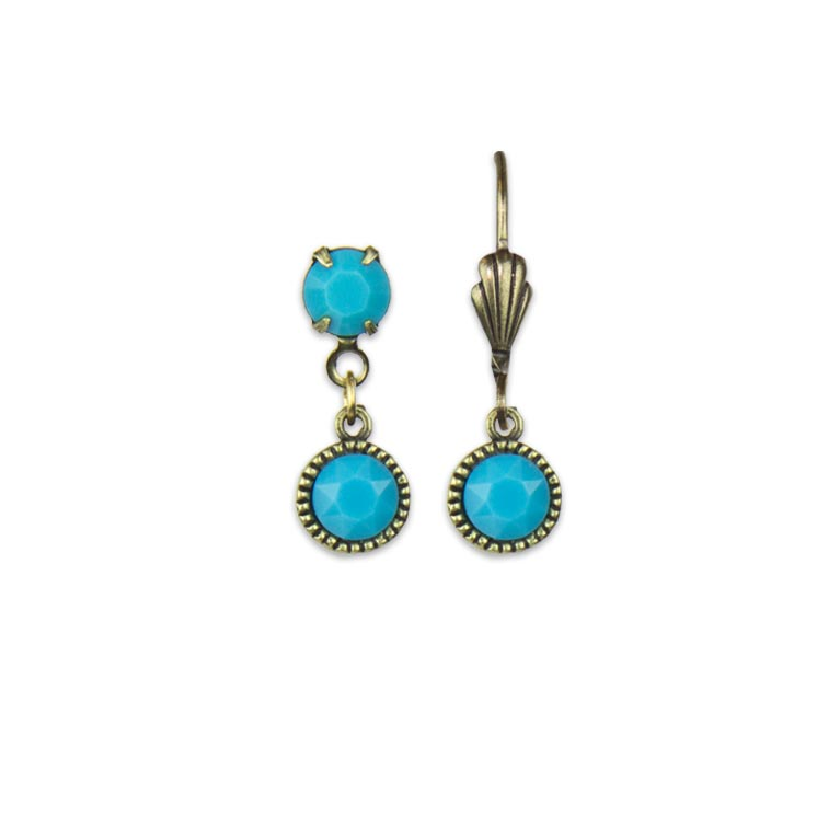 Swarovski® Bezel Set Brass Earrings Turquoise | Anne Koplik Designs Jewelry | Handmade in America with Crystals from Swarovski®