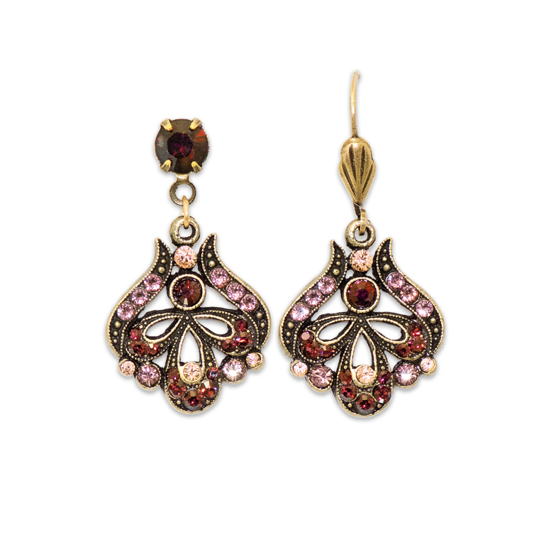 Maple Burgundy Earrings | Anne Koplik Designs Jewelry | Handmade in America with Crystals from Swarovski®