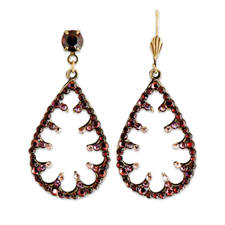 Quinn Burgundy Earrings | Anne Koplik Designs Jewelry | Handmade in America with Crystals from Swarovski®