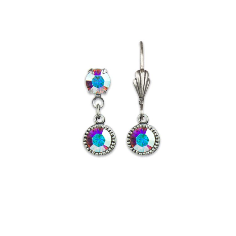 Swarovski® Bezel Set Silver Earrings Iridescent Crystal | Anne Koplik Designs Jewelry | Handmade in America with Crystals from Swarovski®