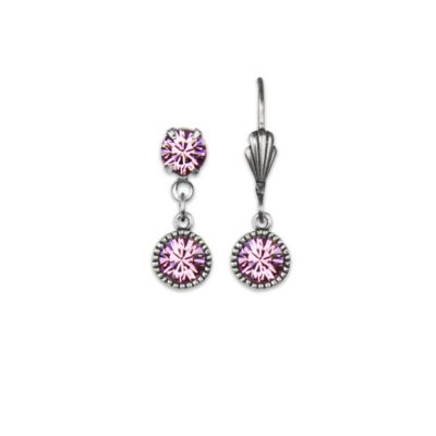 Swarovski® Bezel Set Silver Earrings Light Rose | Anne Koplik Designs Jewelry | Handmade in America with Crystals from Swarovski®