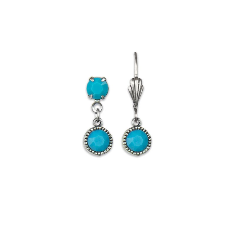 Swarovski® Bezel Set Silver Earrings Turquoise | Anne Koplik Designs Jewelry | Handmade in America with Crystals from Swarovski®