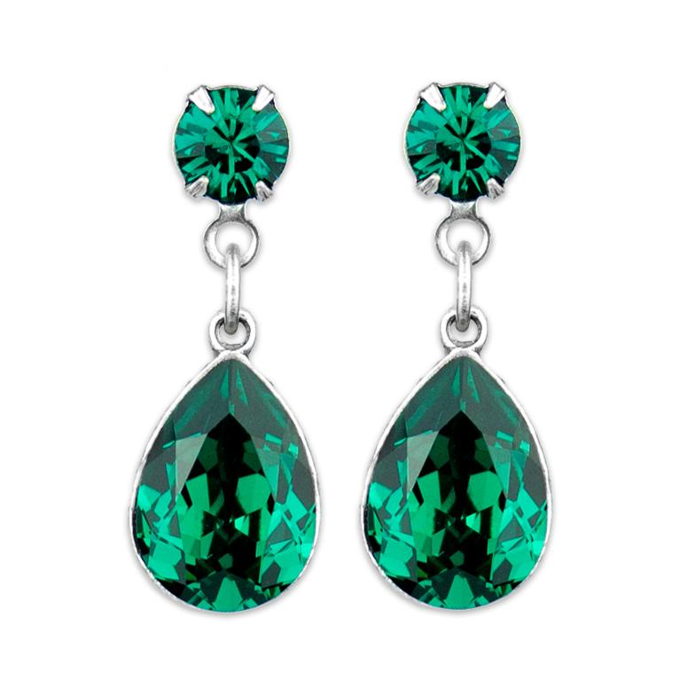 Emerald Teardrop Earrings | Anne Koplik Designs Jewelry | Handmade in America with Crystals from Swarovski®