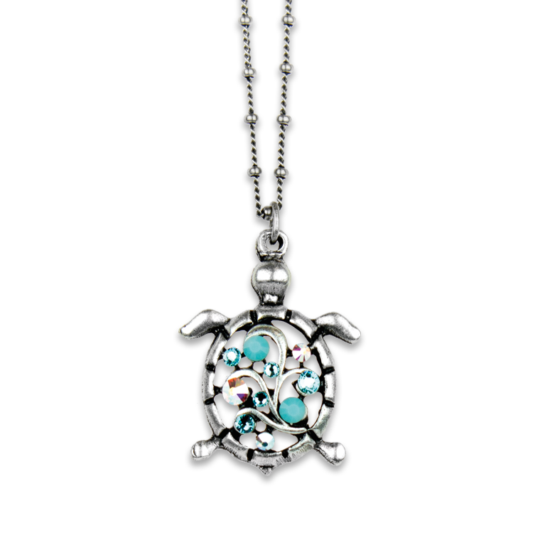 Vera Turquoise Turtle Pendant | Anne Koplik Designs Jewelry | Handmade in America with Crystals from Swarovski®