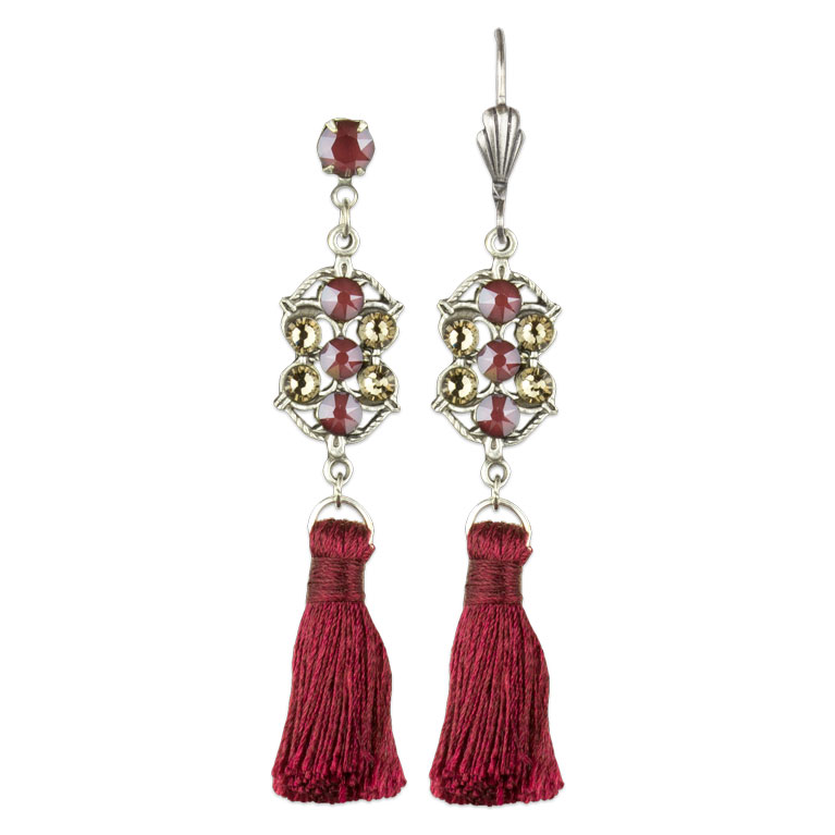 Adrienne Single Tassel Earrings | Anne Koplik Designs Jewelry | Vintage Inspired Jewelry Handcrafted in America with Crystals from Swarovski®