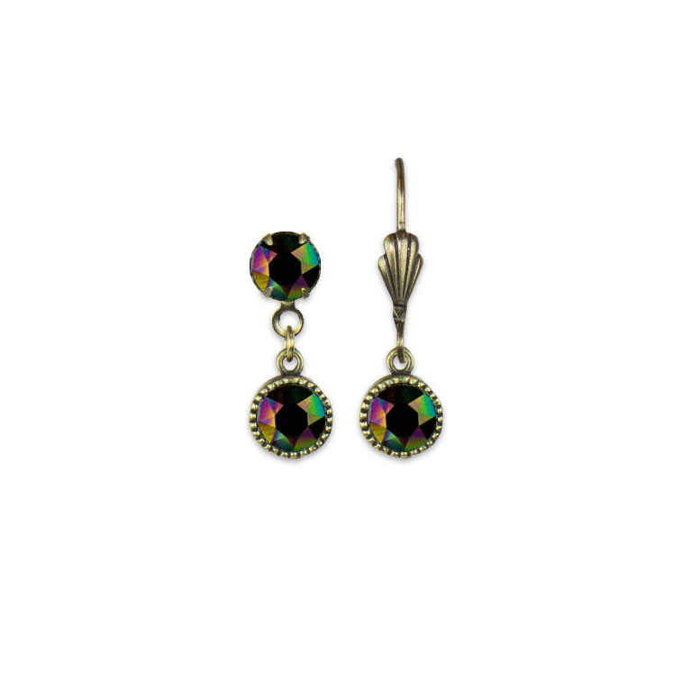 Swarovski® Bezel Set Brass Earrings Rainbow Dark | Anne Koplik Designs Jewelry | Vintage Inspired Jewelry Handcrafted in America with Crystals from Swarovski®