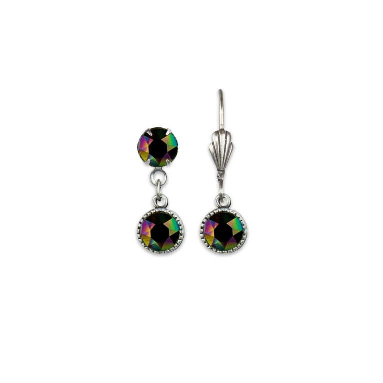 Swarovski® Bezel Set Silver Earrings Rainbow Dark | Anne Koplik Designs Jewelry | Vintage Inspired Jewelry Handcrafted in America with Crystals from Swarovski®