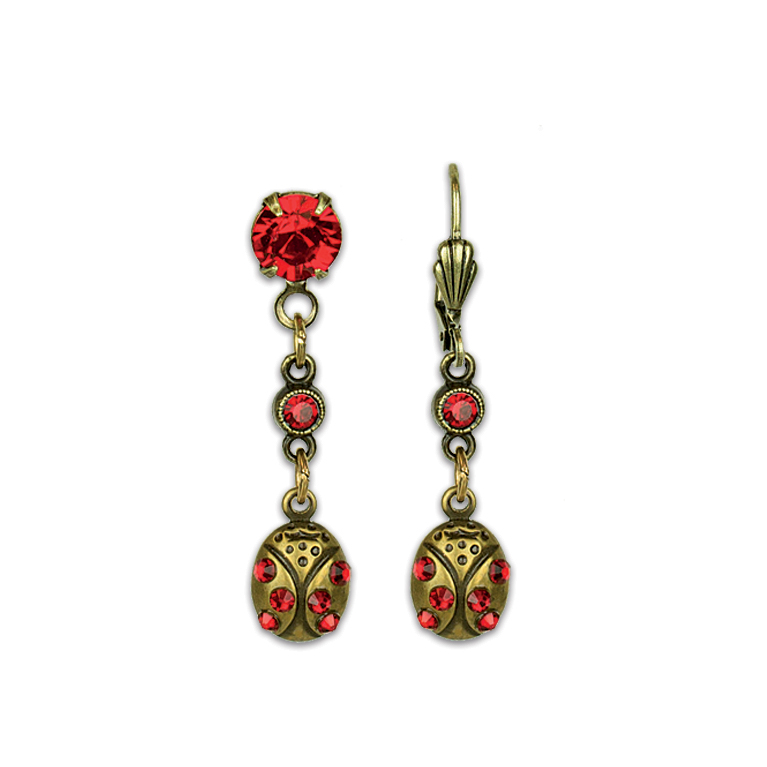 Lucky Ladybug Treasure Earrings | Anne Koplik Designs Jewelry | Vintage Inspired Jewelry Handcrafted in America with Crystals from Swarovski®