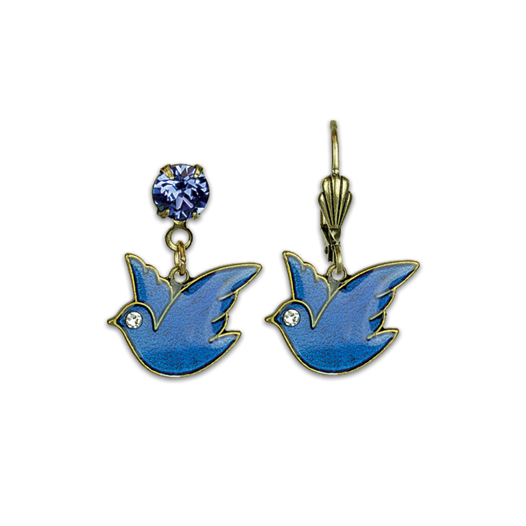Bluebird of Happiness Treasure Earrings | Anne Koplik Designs Jewelry | Vintage Inspired Jewelry Handcrafted in America with Crystals from Swarovski®