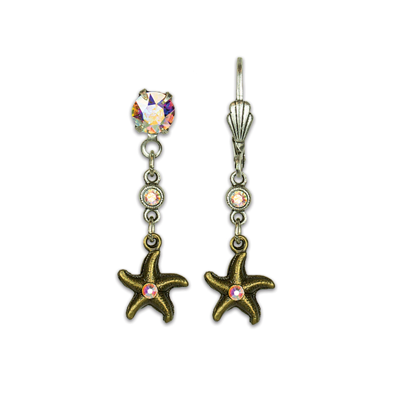 Golden Starfish Treasure Earrings | Anne Koplik Designs Jewelry | Vintage Inspired Jewelry Handcrafted in America with Crystals from Swarovski®