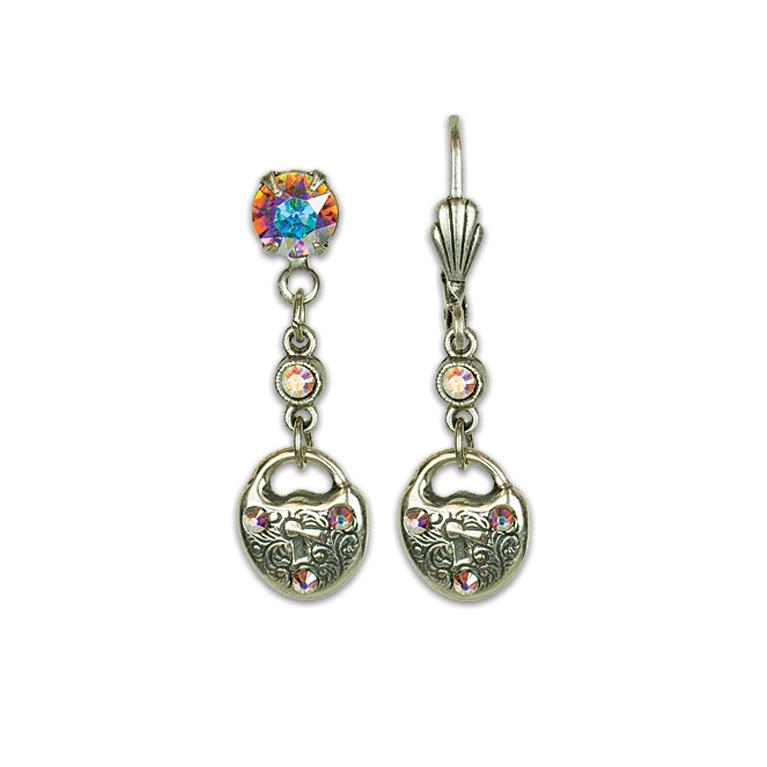 Lock Heart Treasure Earrings | Anne Koplik Designs Jewelry | Vintage Inspired Jewelry Handcrafted in America with Crystals from Swarovski®