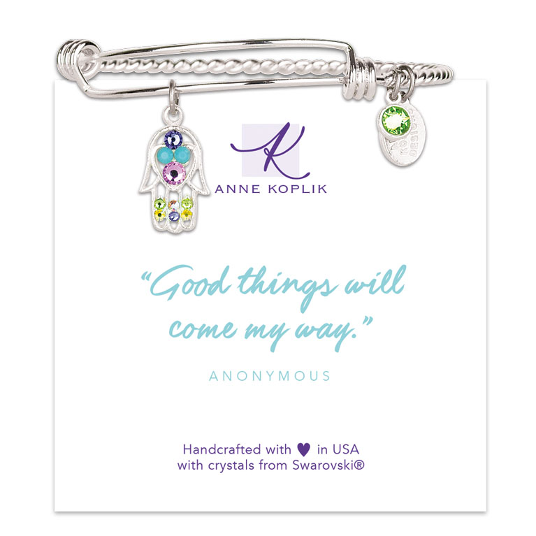 Hamsa Destiny Charm Bangle | Anne Koplik Designs Jewelry | Vintage Inspired Jewelry Handcrafted in America with Crystals from Swarovski®
