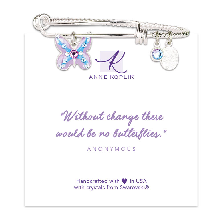 Butterfly Change Charm Bangle | Anne Koplik Designs Jewelry | Vintage Inspired Jewelry Handcrafted in America with Crystals from Swarovski®