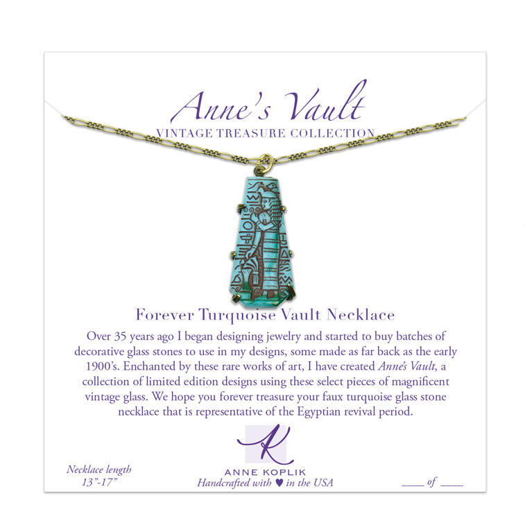Forever Turquoise Vault Necklace | Anne Koplik Designs Jewelry | Vintage Inspired Jewelry Handcrafted in America with Crystals from Swarovski®
