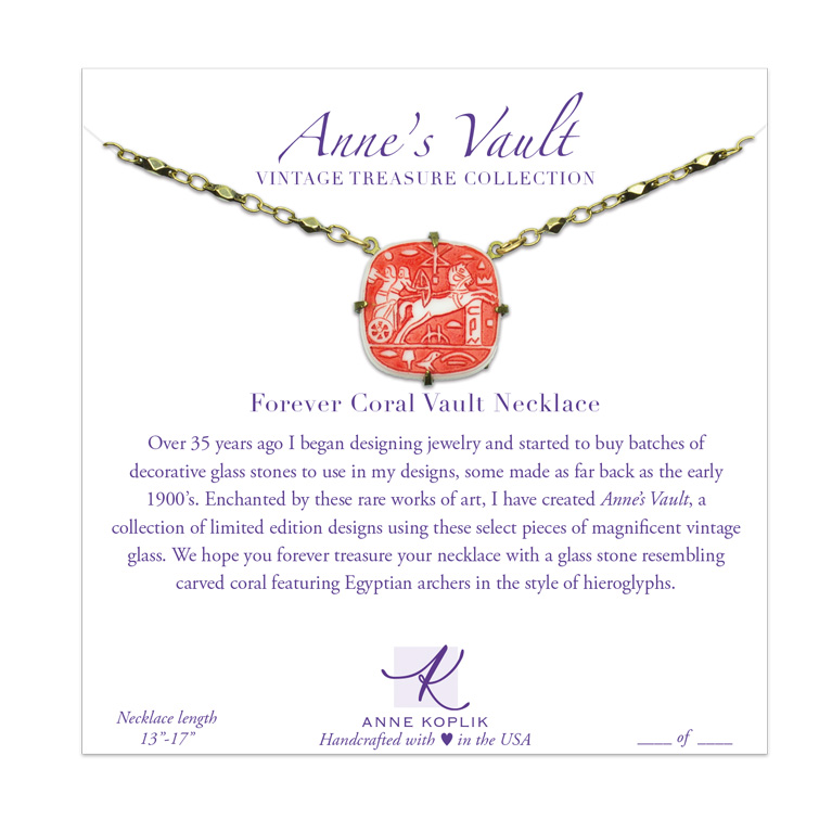 Forever Coral Vault Necklace | Anne Koplik Designs Jewelry | Vintage Inspired Jewelry Handcrafted in America with Crystals from Swarovski®