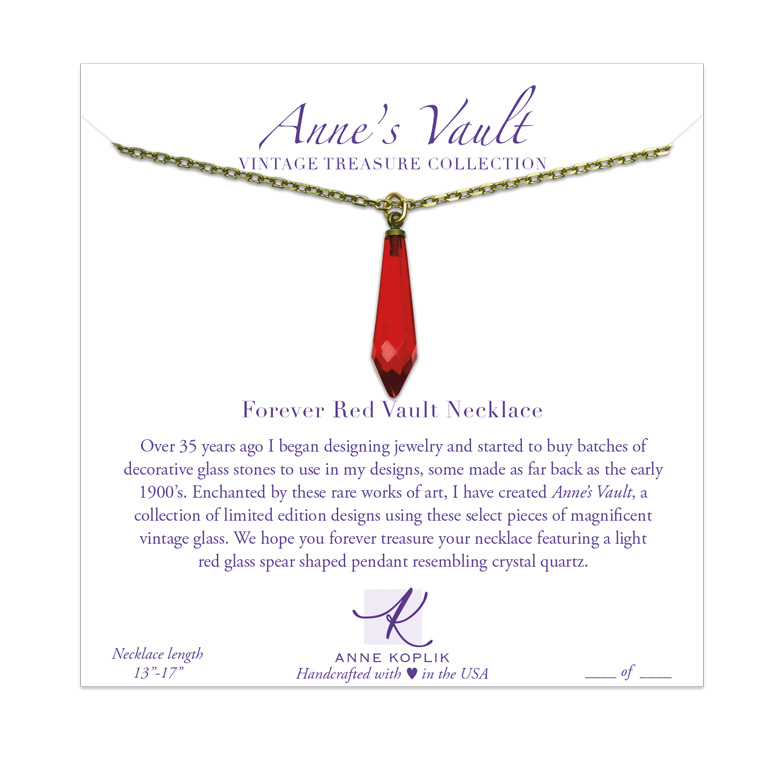 Forever Red Vault Necklace | Anne Koplik Designs Jewelry | Vintage Inspired Jewelry Handcrafted in America with Crystals from Swarovski®