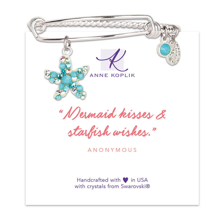Starfish Wish Charm Bangle | Anne Koplik Designs Jewelry | Vintage Inspired Jewelry Handcrafted in America with Crystals from Swarovski®