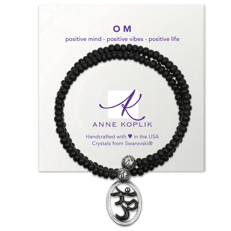 Om Vibes Wrap Bracelet | Anne Koplik Designs Jewelry | Vintage Inspired Jewelry Handcrafted in America with Crystals from Swarovski®