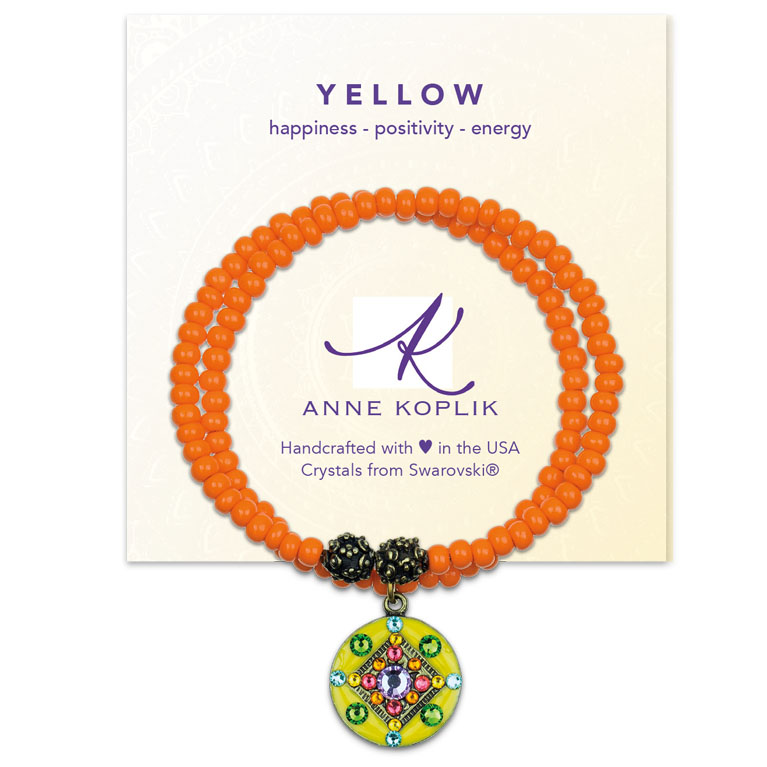 Happy Yellow Wrap Bracelet   Anne Koplik Designs Jewelry   Vintage Inspired Jewelry Handcrafted in America with Crystals from Swarovski®