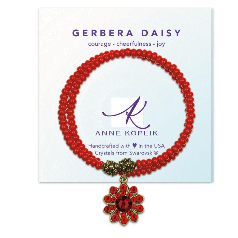 Gerbera Daisy Joy Wrap Bracelet | Anne Koplik Designs Jewelry | Vintage Inspired Jewelry Handcrafted in America with Crystals from Swarovski®
