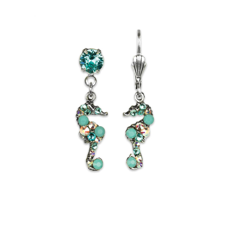 Tallulah Seahorse Earrings | Anne Koplik Designs Jewelry | Vintage Inspired Jewelry Handcrafted in America with Crystals from Swarovski®