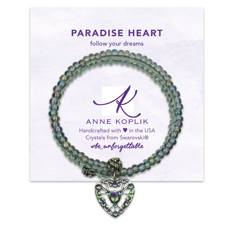 Paradise Heart Wrap Bracelet | Anne Koplik Designs | Vintage Inspired Jewelry Handcrafted in America with Crystals from Swarovski®
