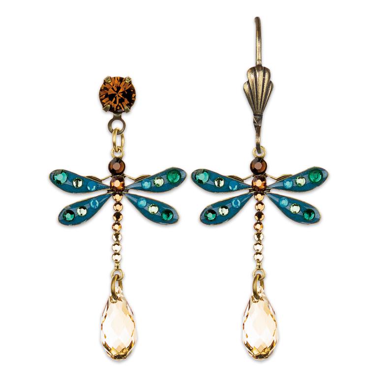 Elsie Dragonfly Earrings   Anne Koplik Designs   Vintage Inspired Jewelry Handcrafted in America with Crystals from Swarovski®