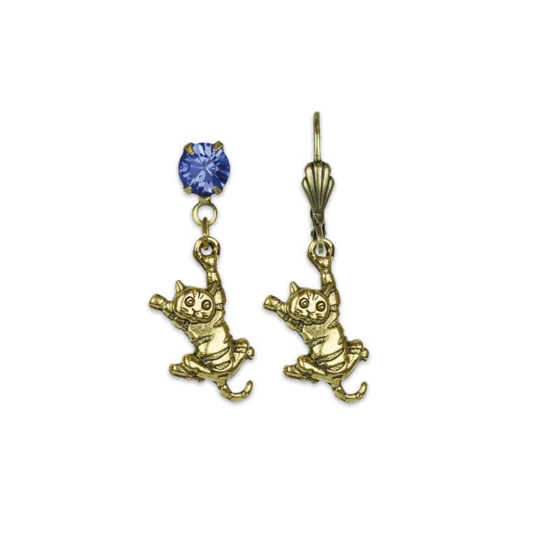 Loving My Cat Treasure Earrings | Anne Koplik Designs | Vintage Inspired Jewelry Handcrafted in America with Crystals from Swarovski®