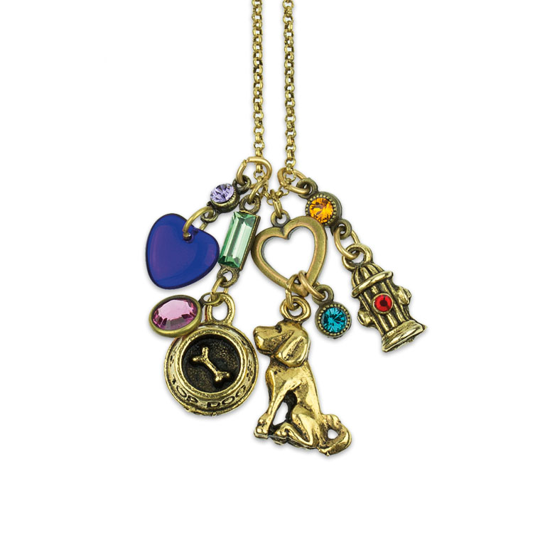 Loving My Dog Jumble Charm Necklace | Anne Koplik Designs | Vintage Inspired Jewelry Handcrafted in America with Crystals from Swarovski®