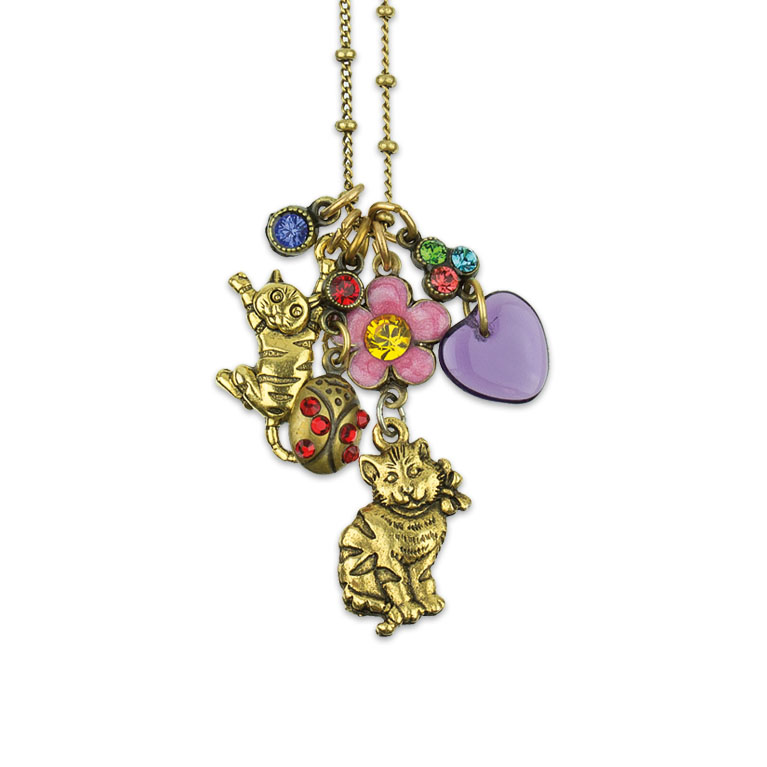 Loving My Cat Jumble Charm Necklace | Anne Koplik Designs | Vintage Inspired Jewelry Handcrafted in America with Crystals from Swarovski®