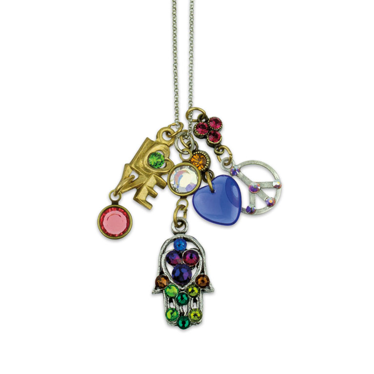Peace, Love & Harmony Jumble Charm Necklace | Anne Koplik Designs | Vintage Inspired Jewelry Handcrafted in America with Crystals from Swarovski®