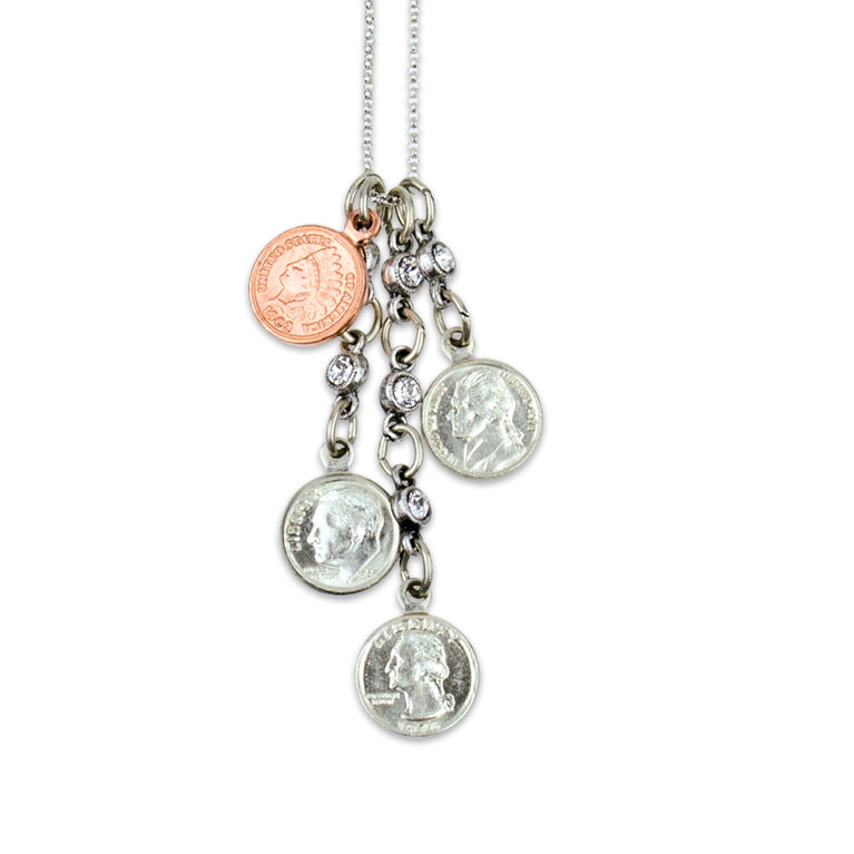 Pocket Change Jumble Charm Necklace | Anne Koplik Designs | Vintage Inspired Jewelry Handcrafted in America with Crystals from Swarovski®