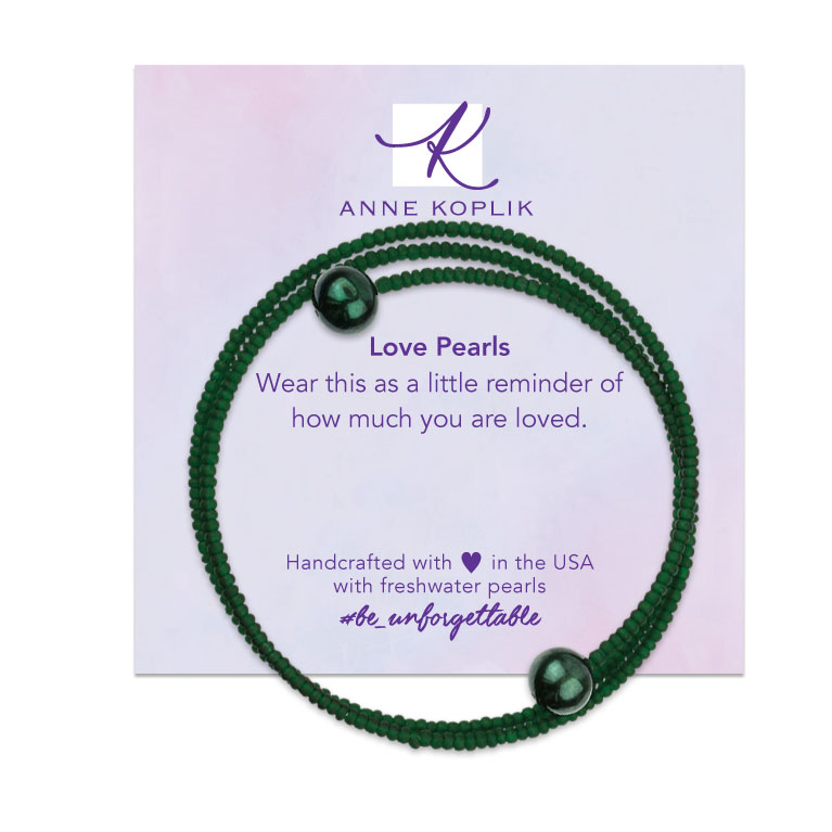 Matte Green Pearl Wrap   Anne Koplik Designs   Vintage Inspired Jewelry Handcrafted in America with Crystals from Swarovski®