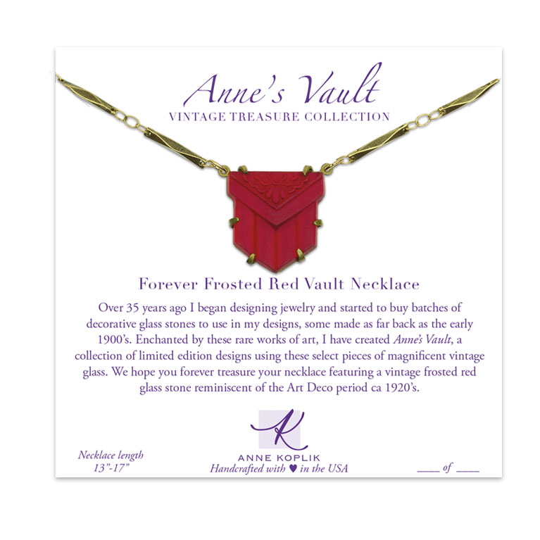 Forever Frosted Red Vault Necklace | Anne Koplik Designs Jewelry | Vintage Inspired Jewelry Handcrafted in America with Crystals from Swarovski®