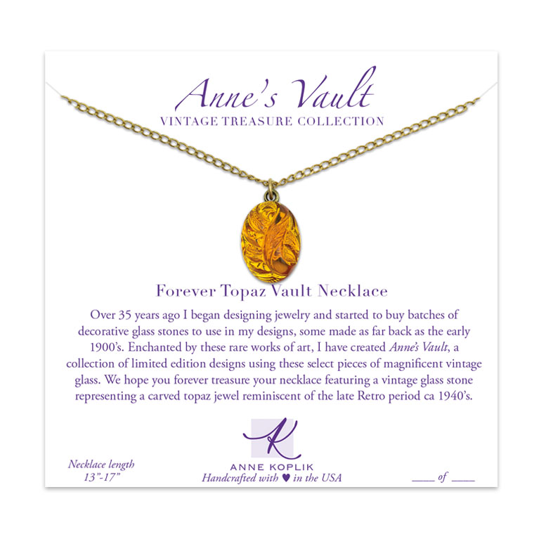 Forever Topaz Vault Necklace | Anne Koplik Designs Jewelry | Vintage Inspired Jewelry Handcrafted in America with Crystals from Swarovski®