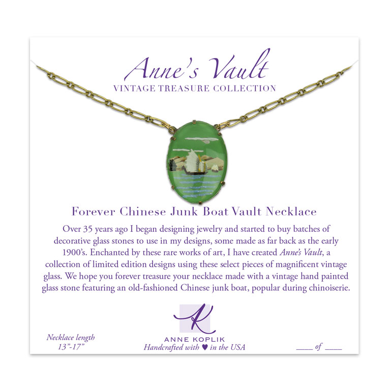 Forever Chinese Junk Boat Vault Necklace | Anne Koplik Designs Jewelry | Vintage Inspired Jewelry Handcrafted in America with Crystals from Swarovski®