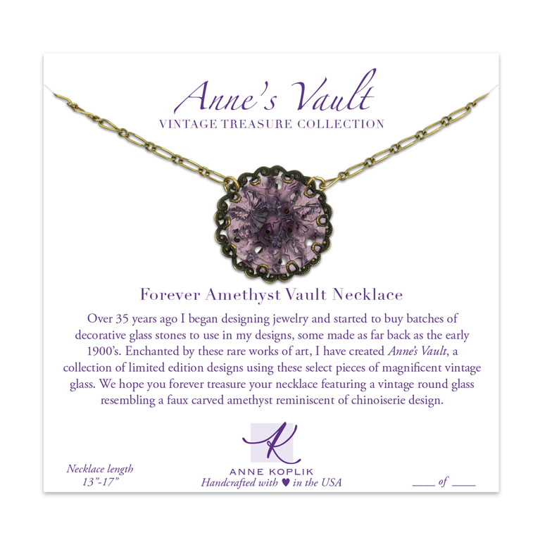 Forever Amethyst Vault Necklace | Anne Koplik Designs Jewelry | Vintage Inspired Jewelry Handcrafted in America with Crystals from Swarovski®
