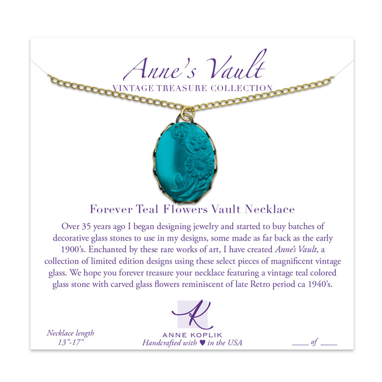 Forever Teal Flowers Vault Necklace | Anne Koplik Designs Jewelry | Vintage Inspired Jewelry Handcrafted in America with Crystals from Swarovski®