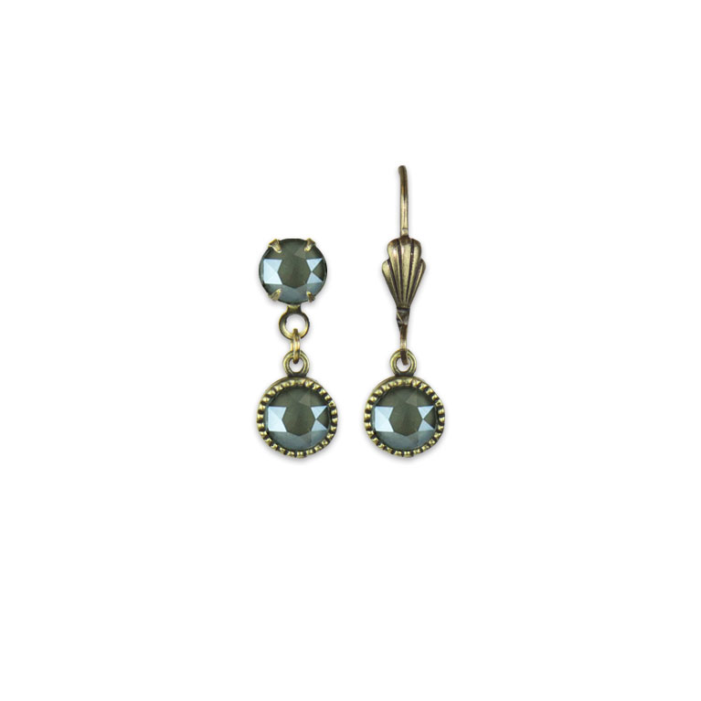 Swarovski® Bezel Set Brass Earrings Dark Grey   Anne Koplik Designs Jewelry   Vintage Inspired Jewelry Handcrafted in America with Crystals from Swarovski®